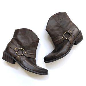 Franco Sarto brown leather Wade harness booties